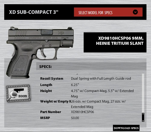 Screenshot of the Springfield XD site and the MSRP of their pistol.